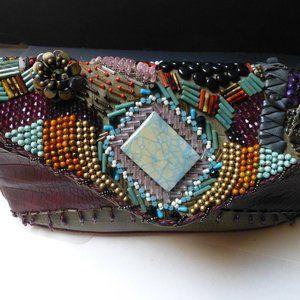 Mary Frances leather beaded stone embellished bag